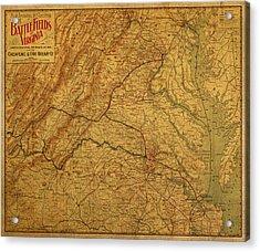 Map Of Virginia Battlefields Civil War Circa 1892 On Worn Distressed Vintage Canvas Acrylic Print by Design Turnpike