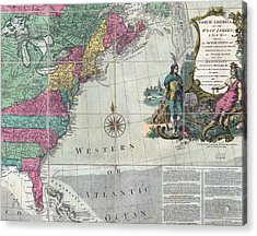 Map Showing The 13 British Colonies Acrylic Print by Everett