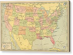 Acrylic Print featuring the digital art Map Usa 1909 by Digital Art Cafe