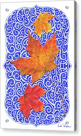 Acrylic Print featuring the digital art Maple Leaves by Lise Winne