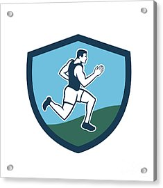 Marathon Runner Crest Retro  Acrylic Print