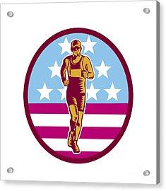 Marathon Runner Usa Flag Circle Woodcut Acrylic Print