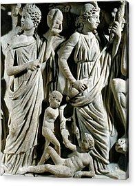 Marble Sarcophagus, Relief Depicting Prometheus Myth Acrylic Print by Roman School