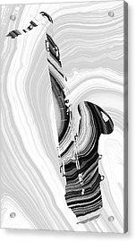 Marbled Music Art - Saxophone - Sharon Cummings Acrylic Print