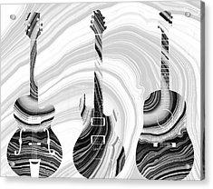 Marbled Music Art - Three Guitars - Sharon Cummings Acrylic Print