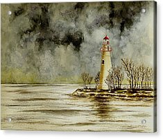 Marblehead Lighthouse In The Winter Acrylic Print by Michael Vigliotti