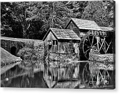 Marby Mill In Black And White Acrylic Print by Paul Ward