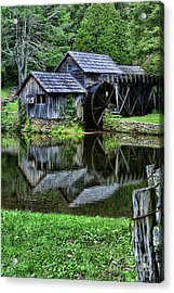 Marby Mill Reflection Acrylic Print by Paul Ward