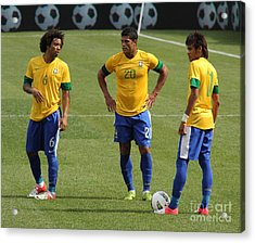 Marcelo Hulk And Neymar Acrylic Print by Lee Dos Santos