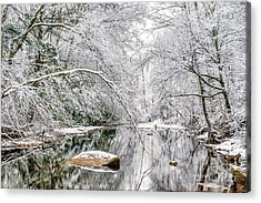 Acrylic Print featuring the photograph March Snow Along Cranberry River by Thomas R Fletcher