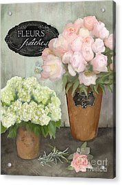 Acrylic Print featuring the painting Marche Aux Fleurs 2 - Peonies N Hydrangeas by Audrey Jeanne Roberts