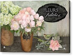 Acrylic Print featuring the painting Marche Aux Fleurs 2 - Peonies N Hydrangeas W Bird by Audrey Jeanne Roberts