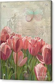Marche Aux Fleurs 3 - Butterfly N Tulips Acrylic Print by Audrey Jeanne Roberts