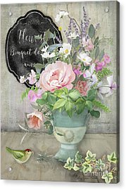 Acrylic Print featuring the painting Marche Aux Fleurs 3 Peony Tulips Sweet Peas Lavender And Bird by Audrey Jeanne Roberts