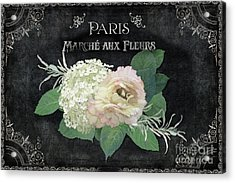 Acrylic Print featuring the painting Marche Aux Fleurs 4 Vintage Style Typography Art by Audrey Jeanne Roberts