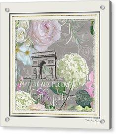 Acrylic Print featuring the painting Marche Aux Fleurs Vintage Paris Arc De Triomphe by Audrey Jeanne Roberts