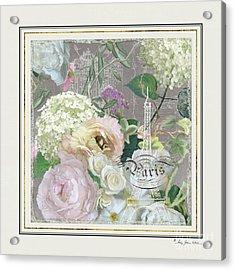 Acrylic Print featuring the painting Marche Aux Fleurs Vintage Paris Eiffel Tower by Audrey Jeanne Roberts