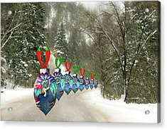 Acrylic Print featuring the photograph Marching Ornaments Chili Peppers by Lou Novick