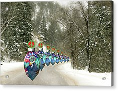 Acrylic Print featuring the photograph Marching Peace Ornaments by Lou Novick