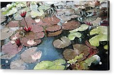 Marcia's Lillies Acrylic Print by Anita Stoll