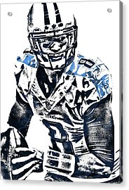 Acrylic Print featuring the mixed media Marcus Mariota Tennessee Titans Pixel Art 3 by Joe Hamilton