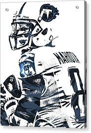 Acrylic Print featuring the mixed media Marcus Mariota Tennessee Titans Pixel Art by Joe Hamilton