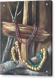 Acrylic Print featuring the painting Mardi Gras Beads And Hurricane Katrina by Randol Burns