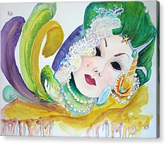 Acrylic Print featuring the painting Mardi Gras Elegance by AnnE Dentler