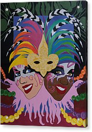 Mardi Gras In Colour Acrylic Print by Angelo Thomas