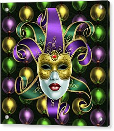 Mardi Gras Mask And Beads Acrylic Print