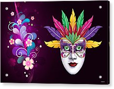 Acrylic Print featuring the photograph Mardi Gras Mask On Floral Background by Gary Crockett