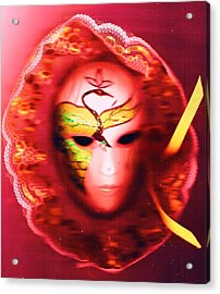 Mardi Gras Mystery Girl Revisited Acrylic Print by Anne-Elizabeth Whiteway