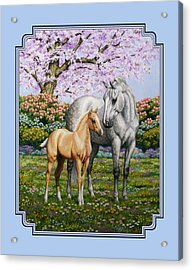 Mare And Foal Pillow Blue Acrylic Print by Crista Forest