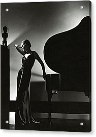 Margaret Horan Posing Beside A Piano Acrylic Print by Edward Steichen