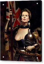 Margaret Thatcher Nude Acrylic Print by Karine Percheron-Daniels