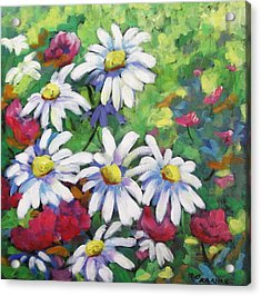 Marguerites 001 Acrylic Print by Richard T Pranke