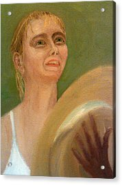 Maria Sharapova In Light Reflected From The Wimbledon Trophy Acrylic Print by Peter Gartner