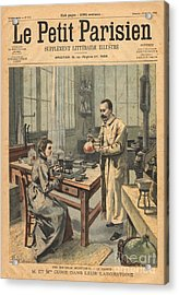 Marie And Pierre Curie In Laboratory Acrylic Print by Science Source