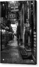 Marie Laveau's House Of Voodoo At Night In Black And White Acrylic Print