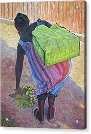 Woman At Her Chores Acrylic Print