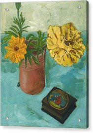 Marigolds And June Bugs Acrylic Print by Laura Wilson