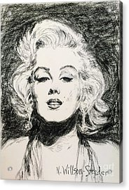 Marilyn, Black And White Acrylic Print by N Willson-Strader