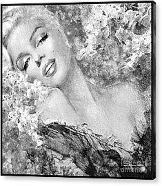 Marilyn Cherry Blossom Bw Acrylic Print