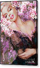 Marilyn Cherry Blossoms Pink Acrylic Print