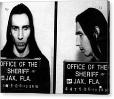 Marilyn Manson Mug Shot Horizontal Acrylic Print by Tony Rubino