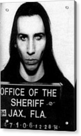 Marilyn Manson Mug Shot Vertical Acrylic Print by Tony Rubino