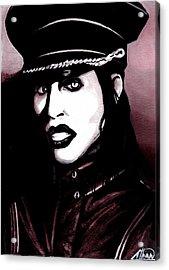 Marilyn Manson Portrait Acrylic Print by Alban Dizdari
