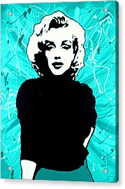 Marilyn Monroe Blue Green Aqua Tint Acrylic Print