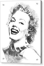Marilyn Monroe Bw Portrait Acrylic Print by Mihaela Pater