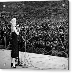 Marilyn Monroe Entertaining The Troops In Korea Acrylic Print by American School